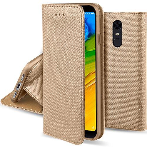 Moozy Funda para Xiaomi Redmi 5 Plus, Oro - Flip Cover Smart Magnética con Stand Plegable y Soporte de Silicona