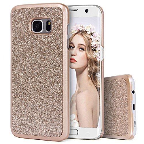 Galaxy S7 Edge Hülle, Imikoko® Luxus Bling Hardcase Strass Glitzer Schutzhülle Hülle Handyhülle Etui Case Für Samsung Galaxy S7 Edge(Gold)