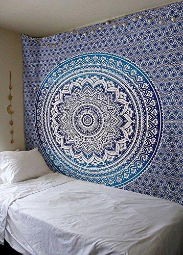 Bless International - Tapisserie hippie motif mandala ombre traditionnel indien en coton à mettre au mur ou à utiliser comme couvre-lit bohème, Coton, bleu, Twin(54x72 Inches)(140x185 Cm)