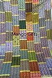 Mango Gifts Indian Silk Sari Patchwork Kantha Tagesdecke