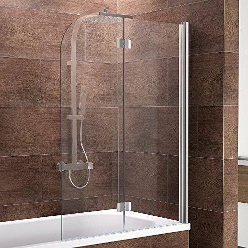 Schulte Duschwand Breathe, 120x140 cm, 2-teilig faltbar, Sicherheitsglas klar 6 mm, Profilfarbe chrom-optik, Duschabtrennung für Badewanne