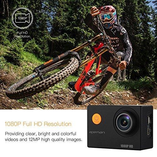 APEMAN-Action-Cam-Sport-Camera-Full-HD-1080P-12MP-170-Grandangolare-e-Kit-Accessori-con-Custodia-Impermeabile-e-Pacchetto-Portatile-per-Ciclismo-Nuoto-e-altri-Sport-Esterni-Nero