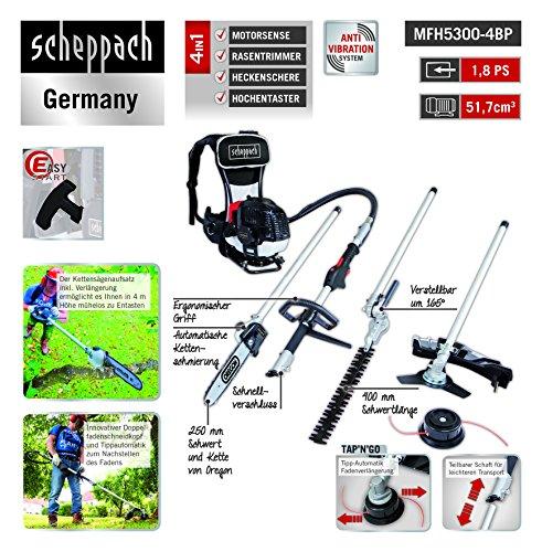 Scheppach 5904805903 Backpacker 4 in 1 = Motorsense, Rasentrimmer, Heckenschere, Hochentaster | Benzin Multitool mit 2 Taktmotor und 51,7 cm³ auf
