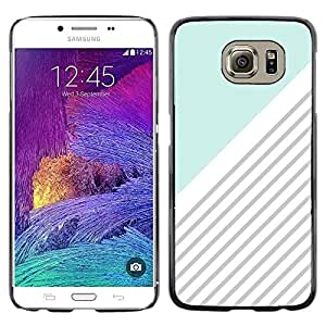 Omega Covers - Snap on Hard Back Case Cover Shell FOR Samsung Galaxy S6 - Blue White Grey Lines Pattern