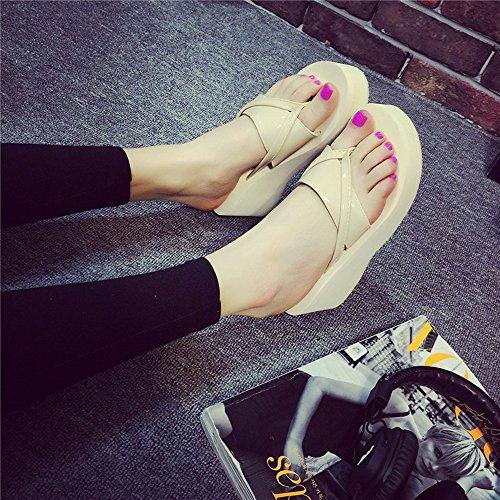 Estate Sandali 6,5 cm ciabatte estive femminili con tacco ciabatte tacco alto Moda Scarpe casuali della spiaggia Colore / formato facoltativo 1002