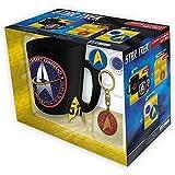 Star Trek - Keramik Tasse Riesentasse 460 ml + Schlüsselanhänger + 2 Buttons - Starfleet Command - United Federation Of Planets - Geschenkset