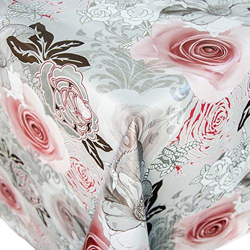 Wachstuch Tischdecke Meterware Motiv Rosen in grau/silber Wachstischtuch abwaschbar