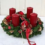FRI-Collection Meisterfloristik Adventskranz XXL Weihnachtskranz künstlich mit 4 Roten Kerzen 50 cm #47160