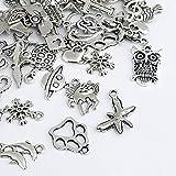 Naler 120pcs misti stili retrò argento ciondolo charm per gioielli fai da te, portachiavi, bracciale, collana, orecchini, gioielli trovare Craft decorazione accessori