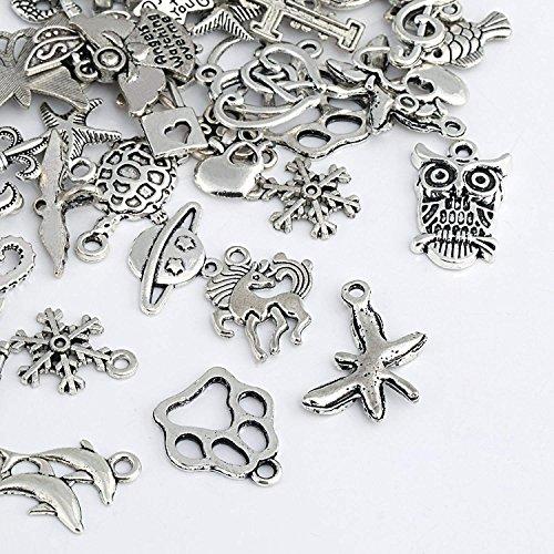Naler - Abalorios de plata de diferentes estilos retro, 120piezas, para crear...