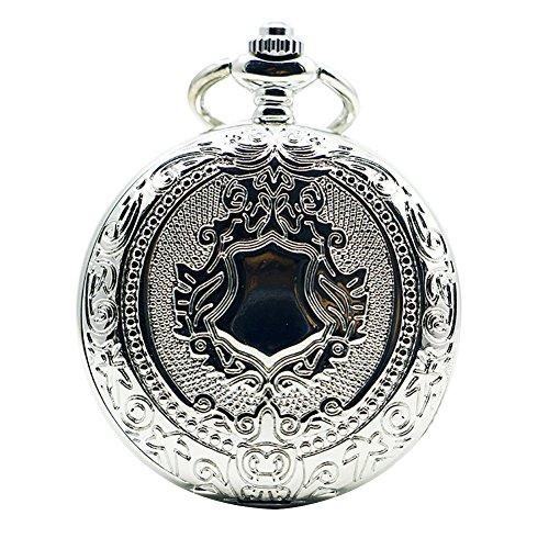 Icegrey Herren Damen Taschenuhr Mit Gravur Mechanisch Taschenuhr Anhänger mit Halskette Kette Pocket Watch Silber