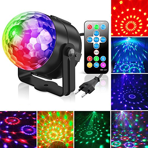 Discokugel, Gvoo LED Party Licht Disco Party Licht 7 Farbenkonbinationen aus 3 Farben,Bühnenbeleuchtung Effektlicht, für Urlaub Party Kinder Geburtstag Karaoke Club Lichteffekte Weihnach