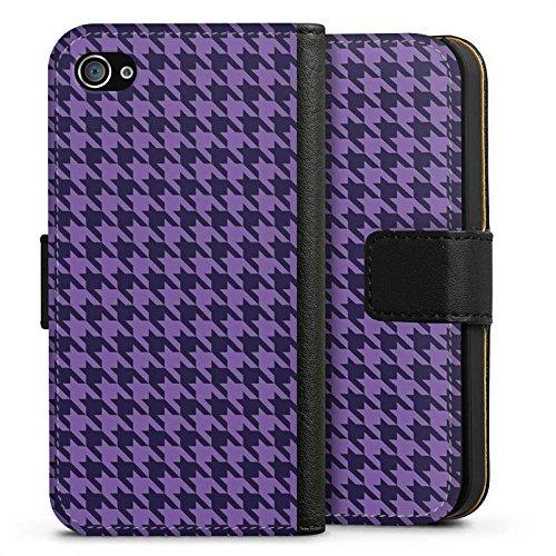 Apple iPhone X Silikon Hülle Case Schutzhülle Hahnentritt Lila Punkte Sideflip Tasche schwarz