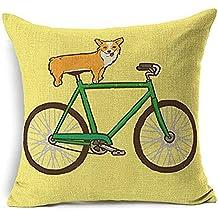 Dessin animé Animal Fox Vélo Hibou écureuil Couvre-lit Taie d'oreiller Housse de coussin décorative en mélange de coton et lin Taie d'oreiller pour canapé 45,7x 45,7cm ¡, Coton, 3, Taille L