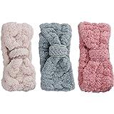 Lurrose 3 pezzi fascia Spa trucco fasce donne corallo del vello dei capelli cosmetici fascia per capelli copricapo per…