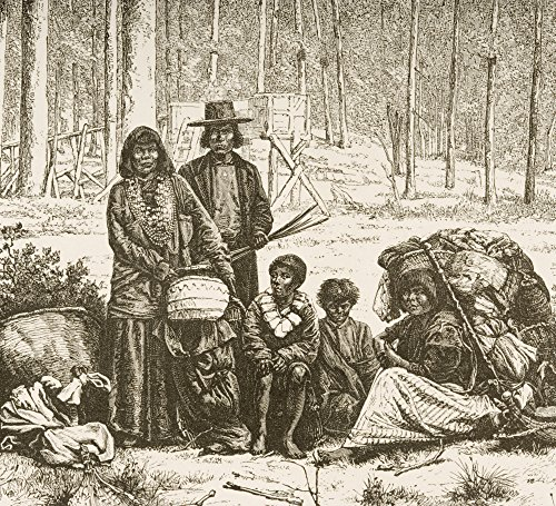 Ken Welsh/Design Pics - Indian Family Group West of The Rocky Mountains. from American Pictures Drawn with Pen and Pencil by Rev Samuel Manning Circa 1880 Photo Print (76,20 x 66,04 cm) (Group Pic Family)