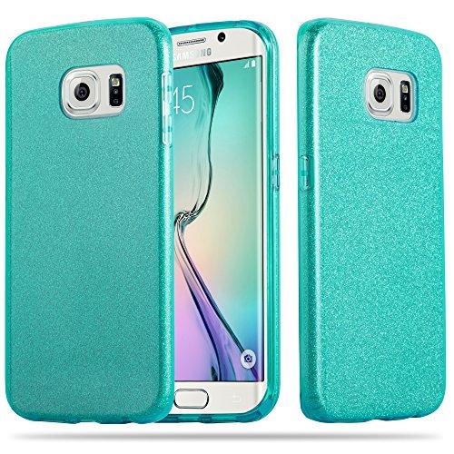 Preisvergleich Produktbild Cadorabo Hülle für Samsung Galaxy S6 Edge - Hülle in Sternenstaub TÜRKIS – TPU Silikon und Hardcase Handyhülle im Glitzer Design - Hard Case TPU Silikon Schutzhülle