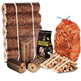 FIRE PIT CHIMINEA STARTER PACK Large Wood Heat Fuel Logs, 3kg Kindling + Eco FireLighters - Comes with THE LOG HUT® Woven Sack.
