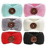G-Tree 6 Pezzi neonata inverno caldo fasce Turbante, maglia di lana Headware capelli Cuffie involucro del bambino del elastica, fasce per capelli carino migliore regalo per la neonata