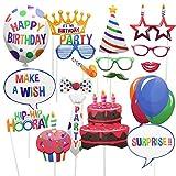 meetory 18pcs Party Foto Booth Props, Partyzubehör Foto Requisiten für Geburtstag Party Requisiten verkleiden Zubehör