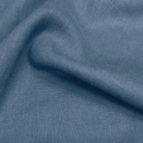 TOLKO Leinen-Stoff Meterware zum Nähen, blickdichter Naturstoff für Bekleidung, Gewänder, Vorhänge und Deko (Rauch-Blau)