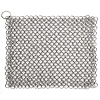 Cast Iron Chainmail Scrubber, ASelected Ultimate Solution for Cleaning (Pre)Seasoned Cookware - XLarge, 8x6 Inch, Handcrafted from Stainless Steel