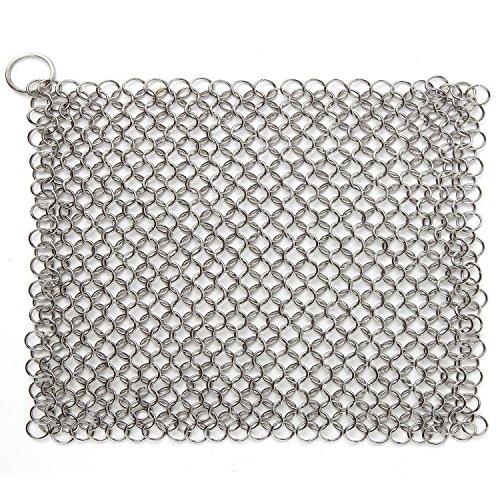 Laniakea® - Estropajo de tipo cota de malla en hierro fundido hecho a mano en acero inoxidable, solución definitiva para la limpieza (XL, 20 x 15 cm)