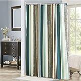 Streifen duschvorhänge, Badezimmer duschvorhänge Wc-partition Aus stoff Dick Wasserdicht und mehltau Drucken Extra lange duschvorhänge-grün 180x200cm(71x79inch)