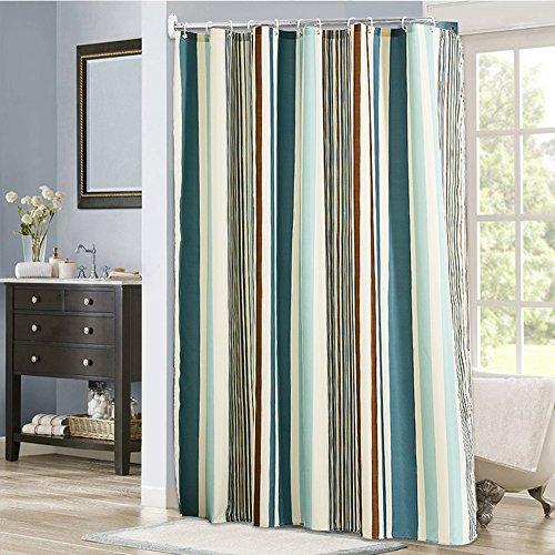 ZY Rideau de douche rayé de salle de bain Cloison sanitaire Tissu de polyester Épaissir la moisissure imperméable à l'eau,150x220cm