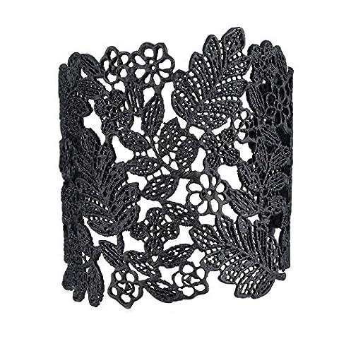 eManco Einstellbare Vintage Spitze weit Stulpe-Armband-Armbänder für Frauen-Schwarz-überzogene (Schwarz Radiant Element)