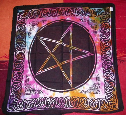 Pentagrama Altar Tarot gamuza de algodón Wicca Pagan nuevo diseño