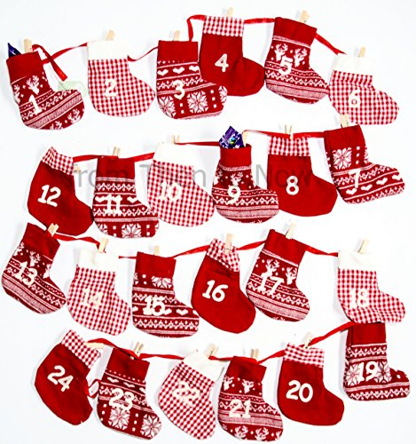 Large Advent Calendar Garland Fabric Red & White Stockings Pockets Pegs Ribbon