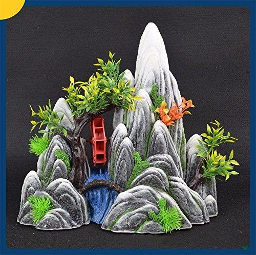 WanJiaMen'Shop Aquarium Dekoration Schmuck Harz Landschaftsgestaltung Aquarium Stil, 30 x 12 x 29 cm, Grau und Weiß (Fish Tank Dekor Driftwood)