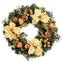 WeRChristmas Pre-Lit Decorated Wreath Christmas Decoration Illuminated with 20 Warm White LED Lights, 60 cm - Copper/Gold