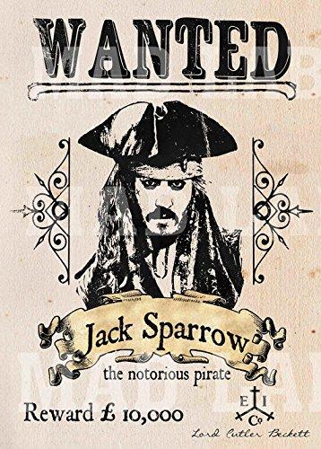 Poster in pergamena a3 manifesto jack sparrow ricercato pirati dei caraibi