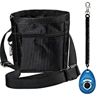 Zacro Black Dog Treat Training Pounch, Carrying Dog Food - Adjustable Waist Bag for Pet Trainers and One Set of Free Training Clicke