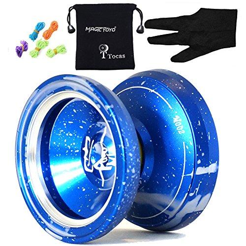 Authentische Magicyoyo Yostyle M002 Aluminium Professionelle Yo-Yos Kugeln mit 5 Strings und Handschuhe, für Kinder Teens Geschenk (Blau)