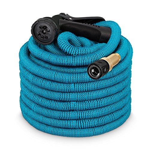 tillvex flexiSchlauch - Flexibler Gartenschlauch - BlueElite Edition + Messing- & Aluminiumverstärkte Anschlüsse - 15m Blau