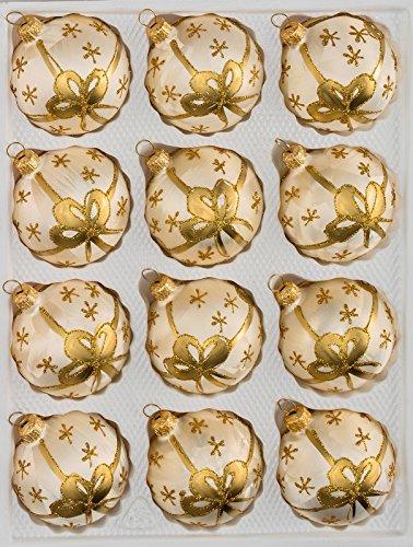 """12 tlg. Glas-Weihnachtskugeln Set in \""""Ice Champagner Goldene Schleife\"""" - Christbaumkugeln - Weihnachtsschmuck-Christbaumschmuck"""