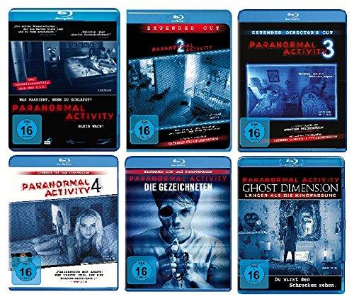 Paranormal Activity - 6 BLU-RAYs (Teil 1-4 + die Gezeichneten + Ghost Dimension) im Set - Deutsche Originalware [6 Blu-rays]