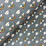 Glünz - Stoff - Softshell Regenbogen grau - Meterware - 1