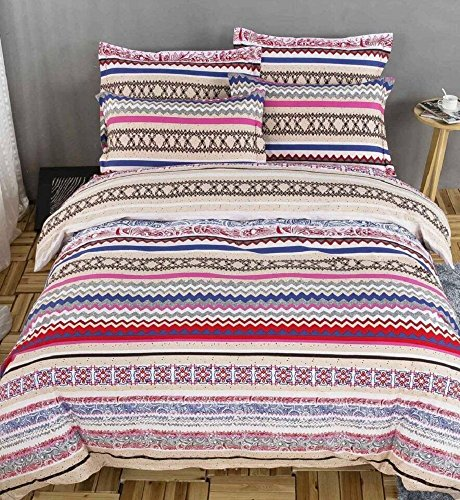 FADFAY Home Textile,Modern Paisley Print Duvet Covers,Fashion Exotic Boho Bedding,Elegant Striped Bed Sheet Set,4Pcs