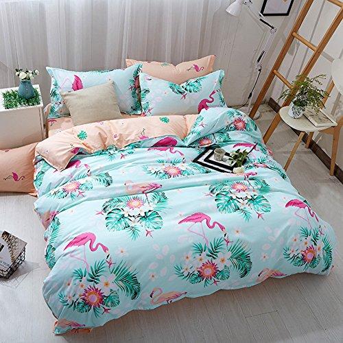Parure de lit Flamant Polyester-Coton Bleu Rose Vert Gris Housse de Couette Simple Double King Size (Vert, 220x240cm)