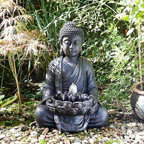 LICHT FENG SHUI FIGUR BRUNNEN BUDDHA SKULPTUR STATUE 52cm MIT WASSER
