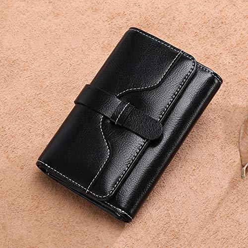 Yajiemei Trifold Multi Card Holder Wallet aus weichem Leder, Elegante Clutch Lange Geldbörse für Damen (Color : Midnight Black)