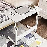 ZHIRONG Mobile Laptop Tisch, C-Typ Struktur Studie Tisch Schreibtisch, höhenverstellbar, Sofa Schrank (Farbe : Weiß, größe : 60 * 40cm)