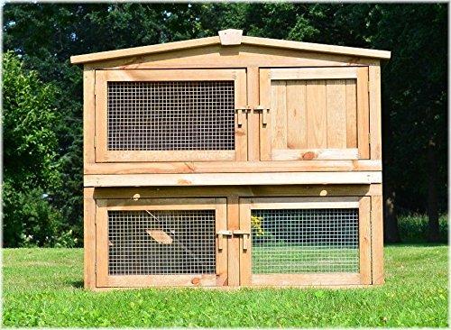 Zooprimus abris cages pour petits animaux grande cage clapier extérieur en bois de pin massif pour lapins modèle 002 Obelix