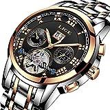 Herren Uhren Chronograph Wasserdicht Mechanische Uhr Herren Luxus Marke LIGE Business Kleid Uhr Mann Elegante Mode Edelstahl Armbanduhr mit schwarzem Zifferblatt