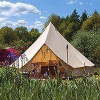 Boutique Camping tienda de 5m Bell de arena con cremallera en lona, Beige (Sandstone)