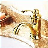 5151BUYWORLD superiore della qualità rubinetto bagno antico rubinetto retrò dorato singolo monoforo caldo e freddo miscelatore Tapfor bagno cucina casa Gaden